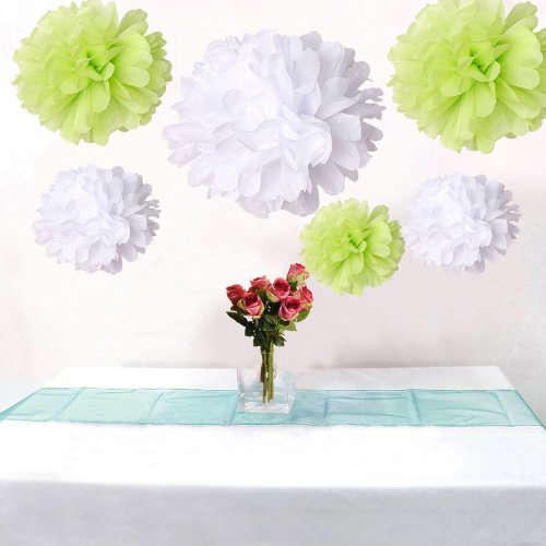 12Pcs Mixed Sizes White Lime Green Tissue Paper Flower Pom Poms Pompoms Wedding Birthday Party Nursery Decoration front-965058