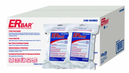 ER Emergency Ration 2400+ Calorie, 5-Year Emergency Food Bar for Survival Kits and Disaster Preparedness (Case of 20) Image