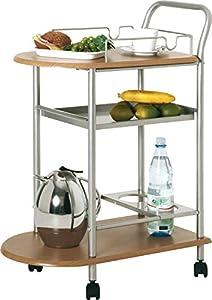 Küchenwagen in Aluminium/Buche