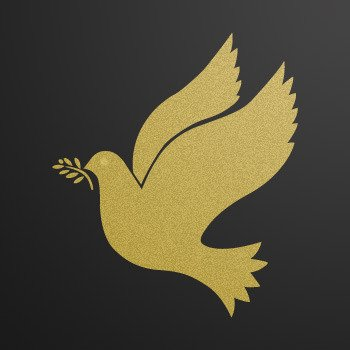 Peace Freedom Pigeon... Gold-Matte (16 X 13.8 inch) ZK63X