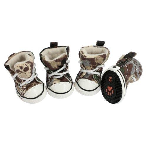 Size 2 Pet Brown Beige Camouflage Prints Sneaker Boots Dog Shoes 4 Pcs