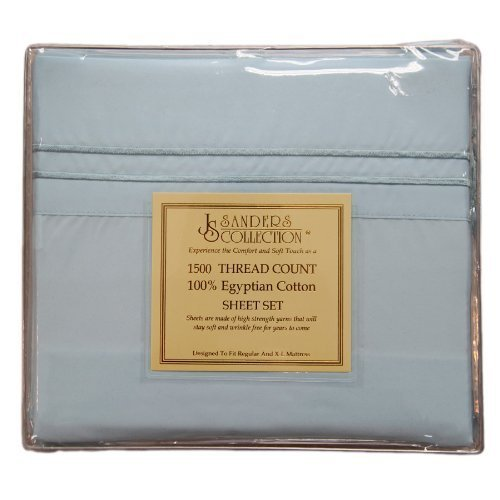 """Elegant Comfort® Wrinkle & Fade Resistant 1500 Thread Count - Damask Stripes Egyptian Quality Luxurious Silky Soft 4Pc Sheet Set, Up To 16"""" Deep Pocket, Full, Light Blue front-392912"""