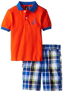 Nautica Boys 2-7 Solid Polo and Plaid Short 2 Piece Set from Nautica