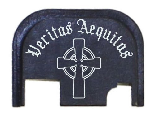 FIXXXER Rear Cover Plate for Glock (Veritas Aequitas with Cross Design) Fits Most Models (Not G42, G43) and Generations (Not Gen 5)