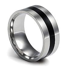 buy 9Mm Men'S Ring Plain Stainless Steel Engagement Promise Wedding Bands Ring Middle Black Enamel