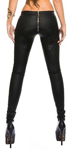 Leder-Optik Hose * Gr. S M L XL * Reißverschluß hinten Skinny Pant Damenhose Leggings