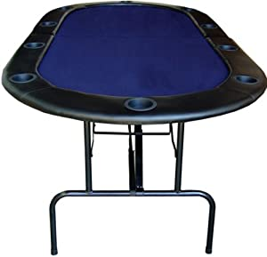 "84"" Foldable Texas Hold'em Poker Table Table Top Color: Blue"