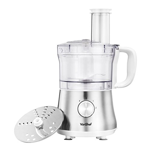 VonShef 4.5 Cup Mini Powerful Food Processor Blender Chopper Multi Mixer, Silver – 2 Speed and Pulse Action