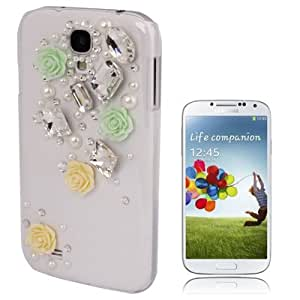 Flowers Pattern Diamond Encrusted Plastic Case for Samsung Galaxy S4 / i9500
