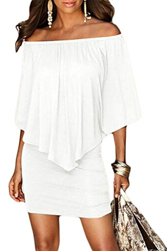 Sidefeel Women Off Shoulder Ruffles Clubwear Mini Dress Medium White