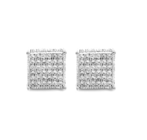 Mens 9Mm White Gold Plated Cz Micro Pave Iced Out Cube Stud Earrings Screw Backs (6 Lines)