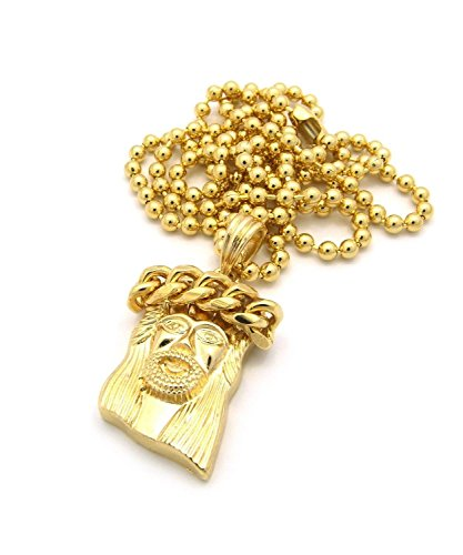 Cuban Link Jesus 14K Gold Overlay Micro Piece Mini Charm Pendant Chain Necklace