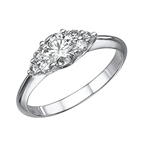 IGI Certified 14k white-gold Round Cut Diamond Engagement Ring (0.57 cttw, E Color, VS2 Clarity) - size 9