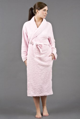 Ladies Lightweight And Warm Embossed Fleece Wrap Over Dressing Gown Bathrobe. Sizes to fit from Small To 2XL