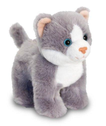 Keel Toys Plüschkatze, grau - weiß getigert