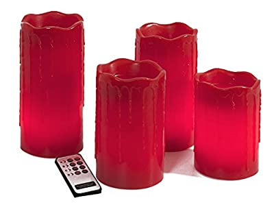 Brauns Heitmann LED-Echtwachs-Kerzen mit Fernbedienung, 4-er Set, rot 58804