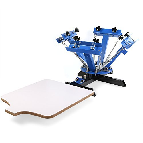 OrangeA Screen Printing Machine Silk Screen Printing Machine Screen Printing Press 4 Color 1 Station Adjustable Double Spring Devices (4 Color 1 Station)