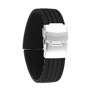 Generic - Silicona reloj correa de caucho band hebilla del despliegue de 24 mm a prueba de agua, color negro marca Generic
