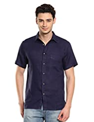 Men Navy Linen Half Sleeves Shirt