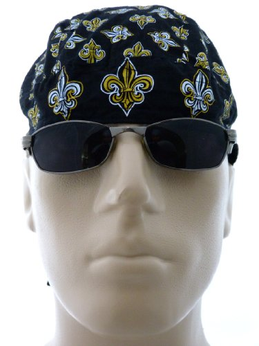 Fleur De Lis Black Bikers Cap/ Medical Cap/ Skull Cap/ Du Doo Rag, General Fleur De Lis Emblem New Orleans Saints Fan Motorcycle Hat, Louisville, KY Cap, City, Cities, White and Gold/ Yellow Fleur De Lis, Fluer