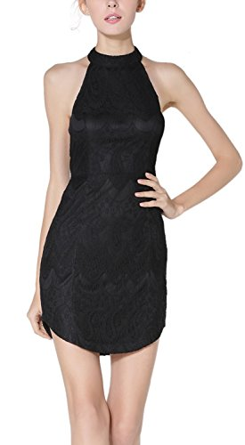 Women Sexy Slim Halter Lace Backless Clubwear Cocktail Evening Party Dress Black M