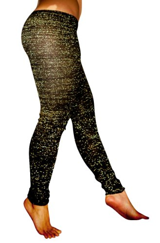 Black & Metallic Gold Medium Sexy Stretch Knit Kd Dance New York Low Rise Tights Fashionable Unique #Madeinusa