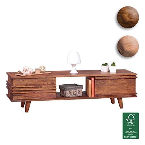 FineBuy-Lowboard-Massivholz-Sheesham-Kommode-145-cm-TV-Board-Ablage-Fach-Landhaus-Stil-Unterschrank-TV-Mbel-Echt-Holz-Hifi-Rack-41-cm-hoch-Sideboard-tief-Deko-Fernsehschrank-offen-Natur-Produkt