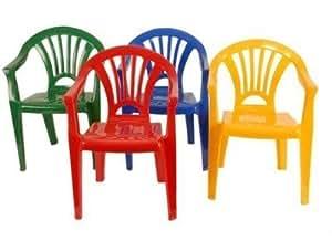 Lot 4 chaises plastique pour enfant 4 couleurs jaune rouge for Peinture pour meuble de jardin en plastique