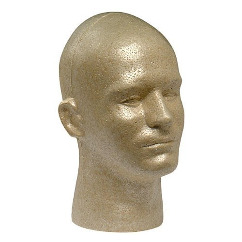 Case Pack of 1 Giell Styrofoam Foam Mannequin Wig Head Display Male Tan (Wig Display Case compare prices)