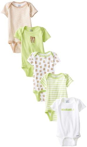 Gerber Unisex-Baby Bear 5 Pack Variety Onesies Brand, Green/Brown, 3-6 Months