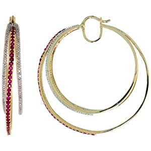 10k Gold Triple Hoop Diamond Earrings, w/ 0.75 Carat Brilliant Cut Diamonds & 1.50 Carats Brilliant Cut Ruby Stones, 1 13/16 in. (46mm)