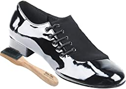 Very Fine Men\'s Salsa Ballroom Tango Latin Dance Shoes Style S2519 Bundle with Dance Shoe Wire Brush, Black Nubuck and Patent 10 M US Heel 1 Inch