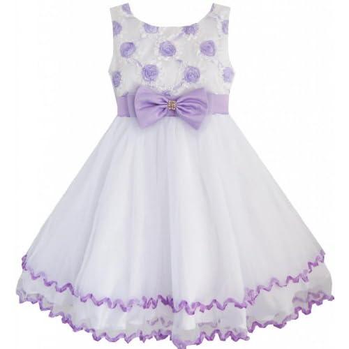EE44 こどもドレス 子どもドレス フラワードレス 花柄 結婚式 発表会 紫 白 チュール プリーツの パーティー 130cm