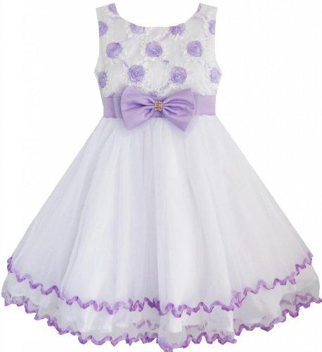 EE45 Sunny Fashion Big Girls' Dress Purple Flower White Tulle Pleated Wedding 10