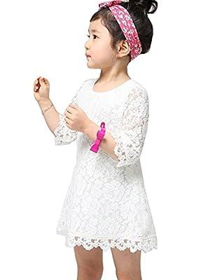 EGELEXY Princess Kids Girls Half Sleeve Flower Lace Dress