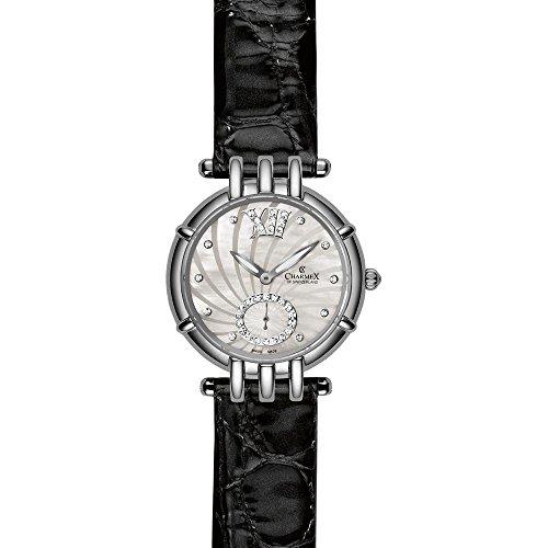 Charmex Pisa Femme 31mm Noir Cuir Bracelet Acier Inoxydable Boitier Montre 6136