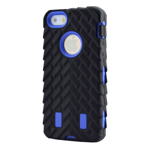 Meaci® Iphone 5C Case 3In1 Tire Stripe Combo Hybrid Defender High Impact Body Armorbox Hard Pc&Silicone Case (Blue)