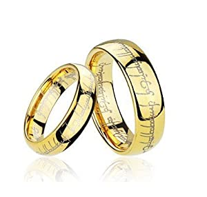 Matching High Polished Gold Plated Dome Lord Laser Etched Tungsten Carbide Rings Set 8mm His& 6mm Hers Anniversary/engagement/wedding Bands. Please E-mail Sizes