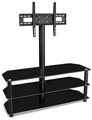 Mount-It! MI-863 TV Entertainment Center Stand with Mount and Glass Shelves for Storage, 32, 38, 42, 45, 50, 52, 55, and 60 Inch Screens, Freestanding, VESA 100x100 to 600x400, 88 Lbs Load Capacity, Black (70 Tv Stand With Mount compare prices)