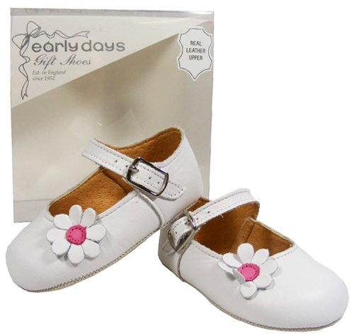 Baby Toddler Girls EARLY DAYS White LEATHER Casual Pram Shoes SIZE 0 1 2 3 4 5 6