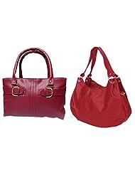 Arc HnH Women Handbag Combo Buckle Pink+ Palatial Red