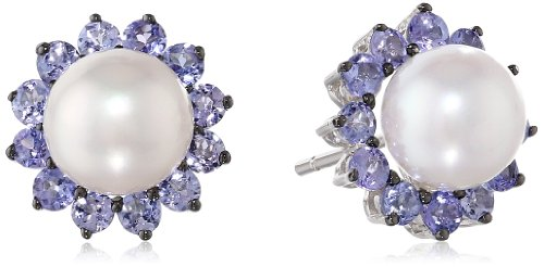 Sterling Silver White Freshwater Cultured Pearl with Tanzanite Stud Earrings