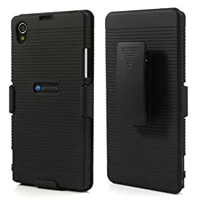 Smays Anti-slip Stripe Design Rubberized Slide Case w/ Swivel Belt Clip Holster Stand for Sony Xperia Z1 Honami L39h