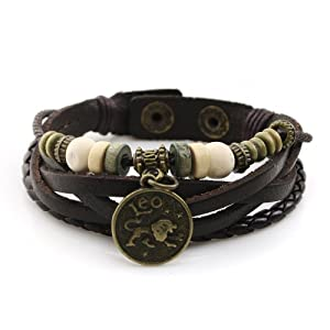 Handmade Genuine Real Leather Bracelet with Constellation Zodiac Sign Logo Charms, Beads, Button, Adjustable Size, Unisex from JewelrieShop