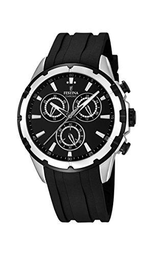 Festina Reloj de cuarzo Hombre, Negro con cronógrafo y correa de goma en color negro F16838/2