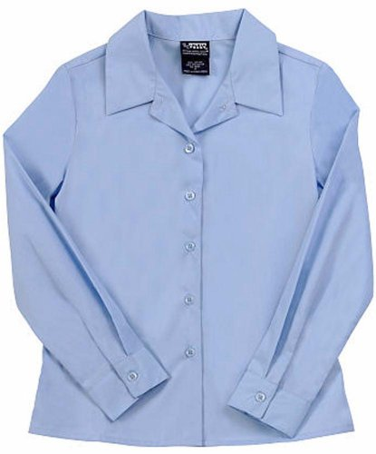 French Toast - Big Girls' Plus Long Sleeve Point Collar Blouse, Light Blue 34158-16.5Plus front-977196