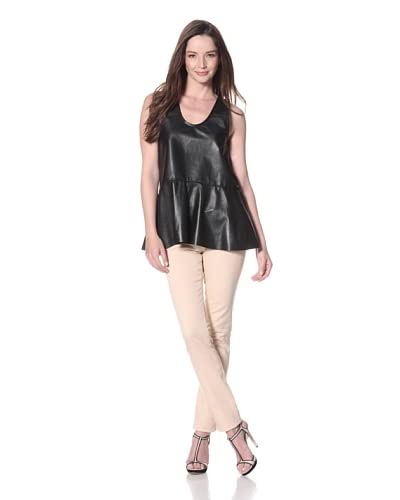 Cynthia Rowley Women's Leather Peplum Top  - Black