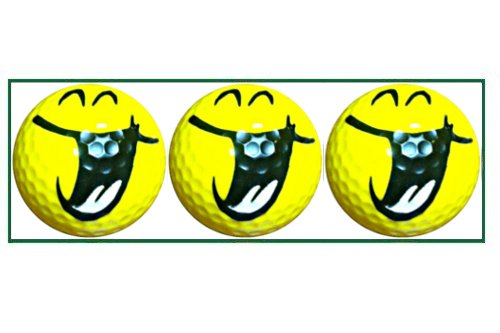 Yellow Hilarious Smiley Designed Golf Balls - 3 balls in a box