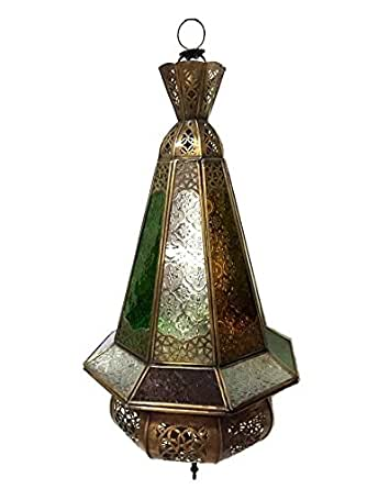 Moroccan Hanging Pendant Conical Lantern Carved Brass Finish Stained Glass La
