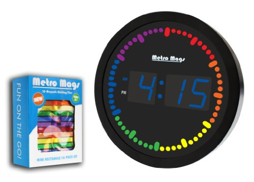 Big Digital Led Wall Clock With Rainbow Circling Led Second Indicator - Round Shape Blue Led And 10 Second Color Change Second Hand Sweep, Includes Bonus Metro Mags Clear Color 16 Piece Magnetic Tile Set